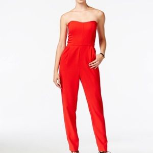 Rachel Roy Strapless Red Jumpsuit NEW Size 6